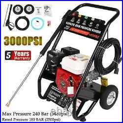 Jet Petrol High Pressure Washer Engine Cleaner 7 HP 3000PSI Power Wheel Portable